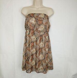 Papaya Paisley Cinched Strapless Short Dress USA